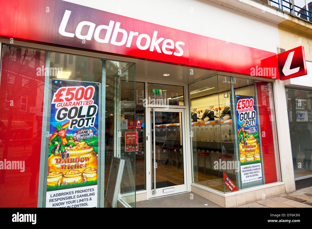 Ladbrokes betting bookie bookies shop front facade building Kingston upon Hull, East Riding, Yorkshire, UK, England GB - Stock Image