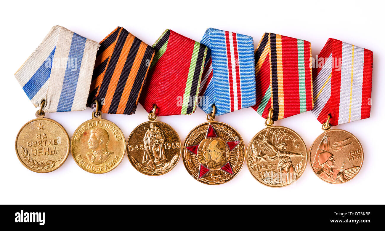 MINSK, BELARUS - FEB 06: Collection of Russian (soviet) medals for participation in the Second World War, February 06, 2014. - Stock Image