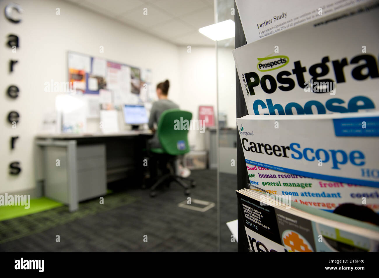 A college careers office. - Stock Image