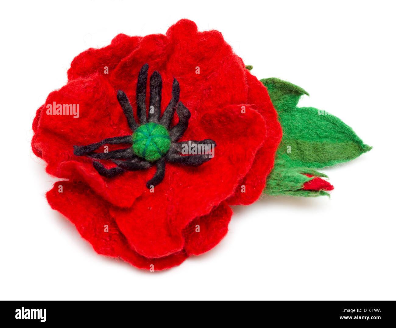 Needle felting poppy with bud and leaf isolated on white background - Stock Image