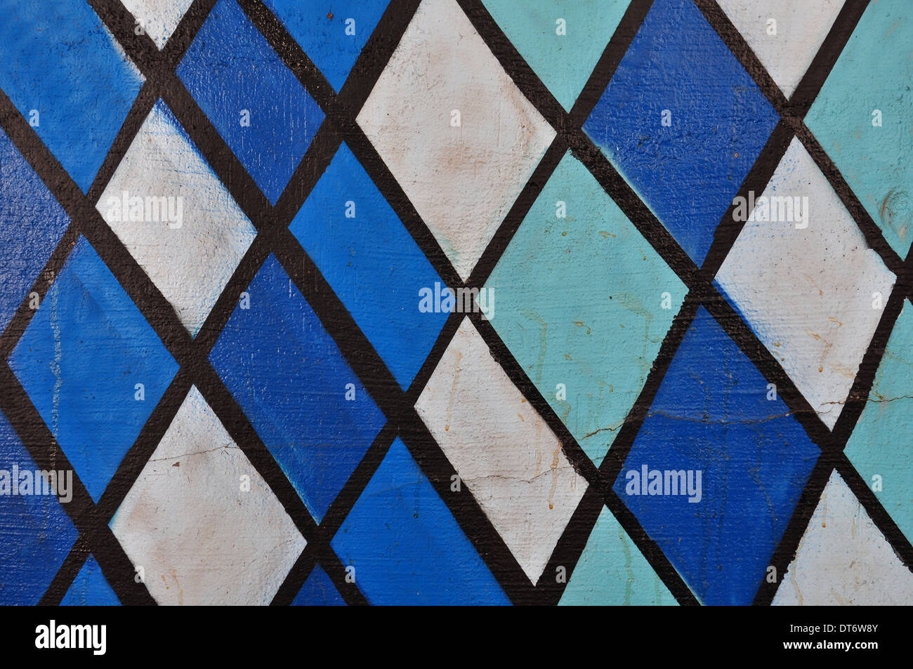 Abstract Paint Pattern Geometric Shapes In Shades Of Blue