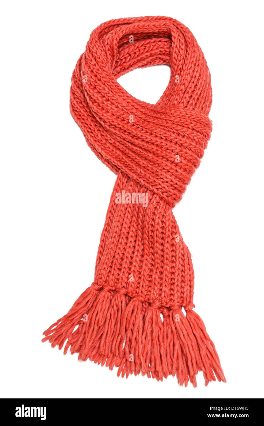 Red textile scarf isolated on white background - Stock Image