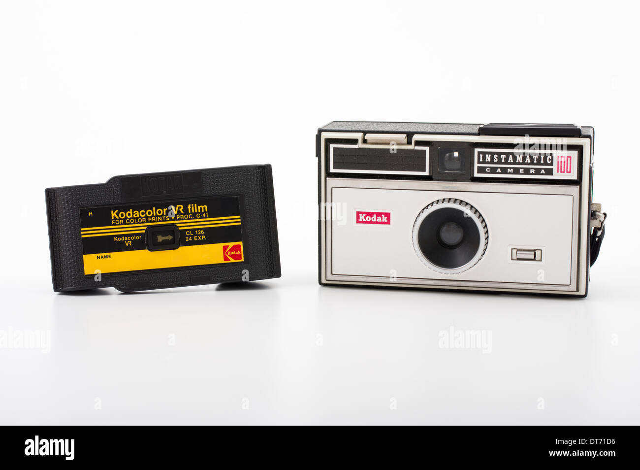 Kodak instamatic 100 film camera and Kodak 126 color print film - Stock Image