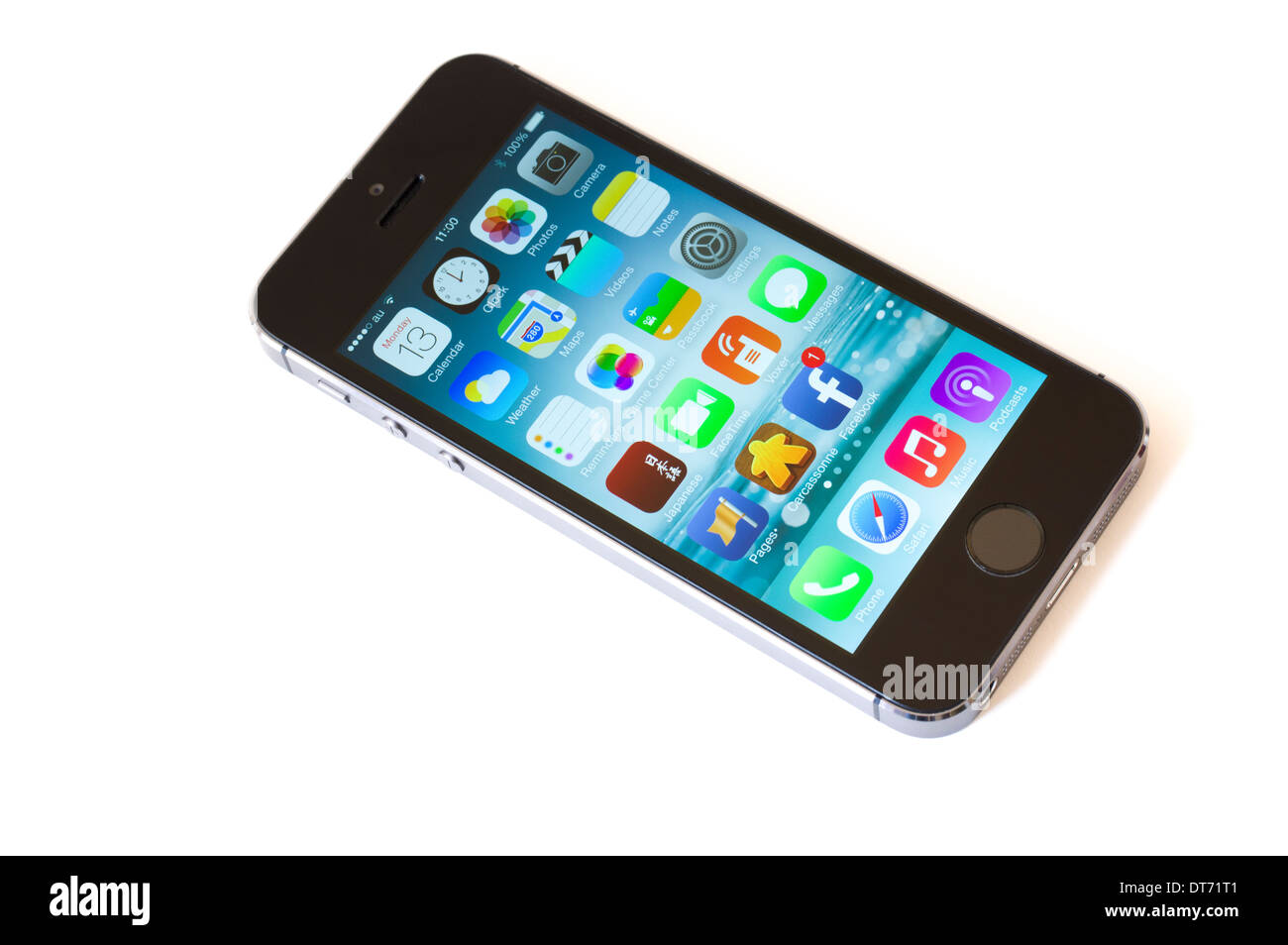 Apple iPhone 5s smart phone designed by Jonathan Ive, includes fingerprint recognition to unlock - Stock Image