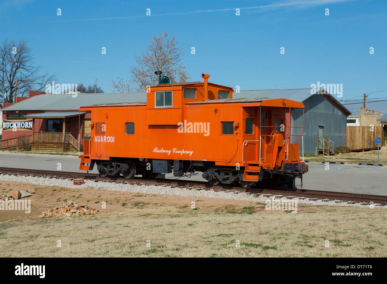 A caboose at the Railroad museum in Llano, Texas - Stock Image