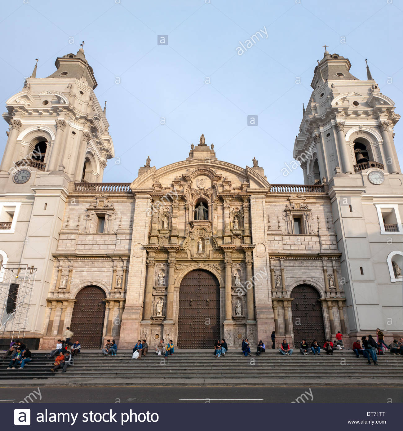 Lima Cathedral on the east side of Plaza Mayor (Plaza de Armas) in central Lima, Peru - Stock Image