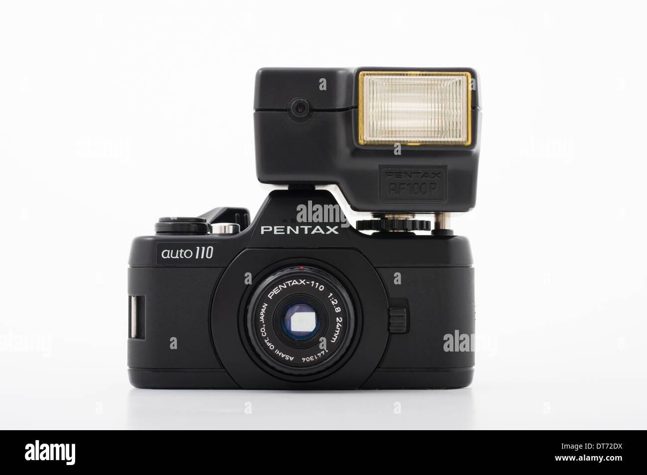Pentax auto 110 film SLR camera using compact 110 film - Stock Image
