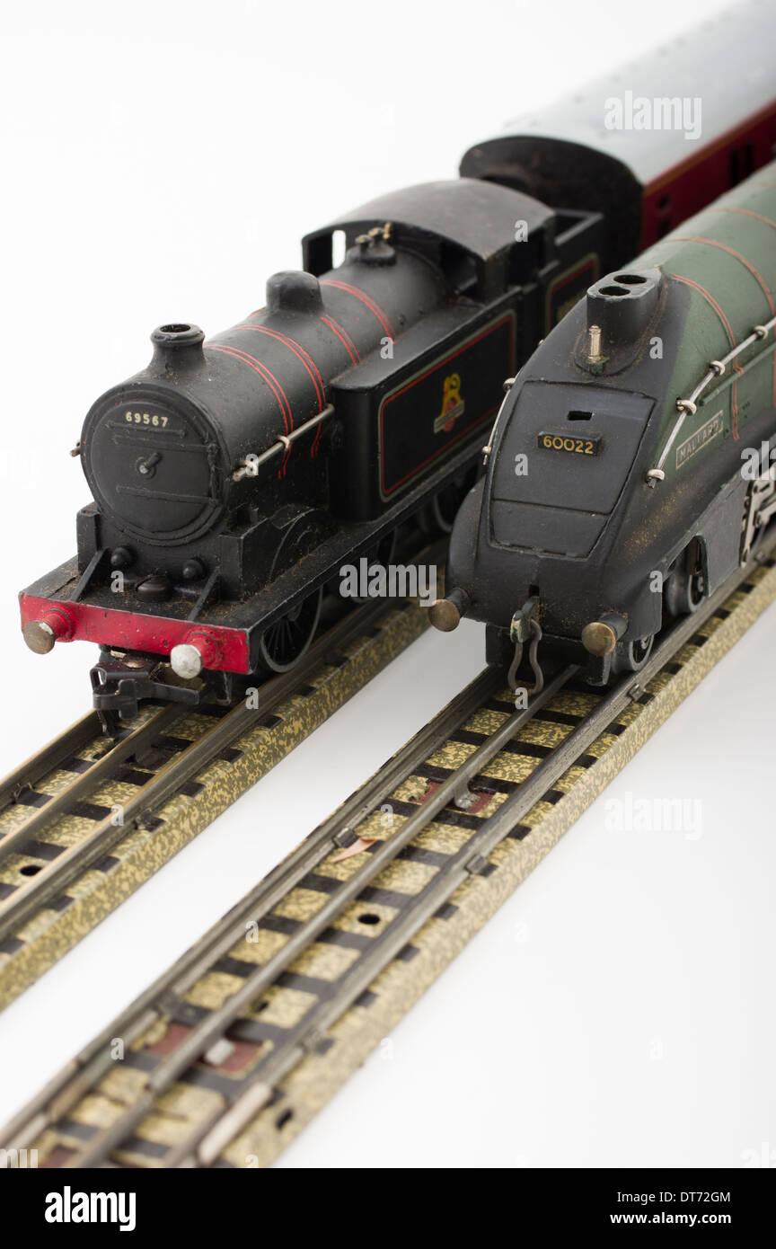 Hornby Dublo Green Mallard Model Train with EDL17 Tank Locomotive Train Classic Brtish Children's Toy - Stock Image