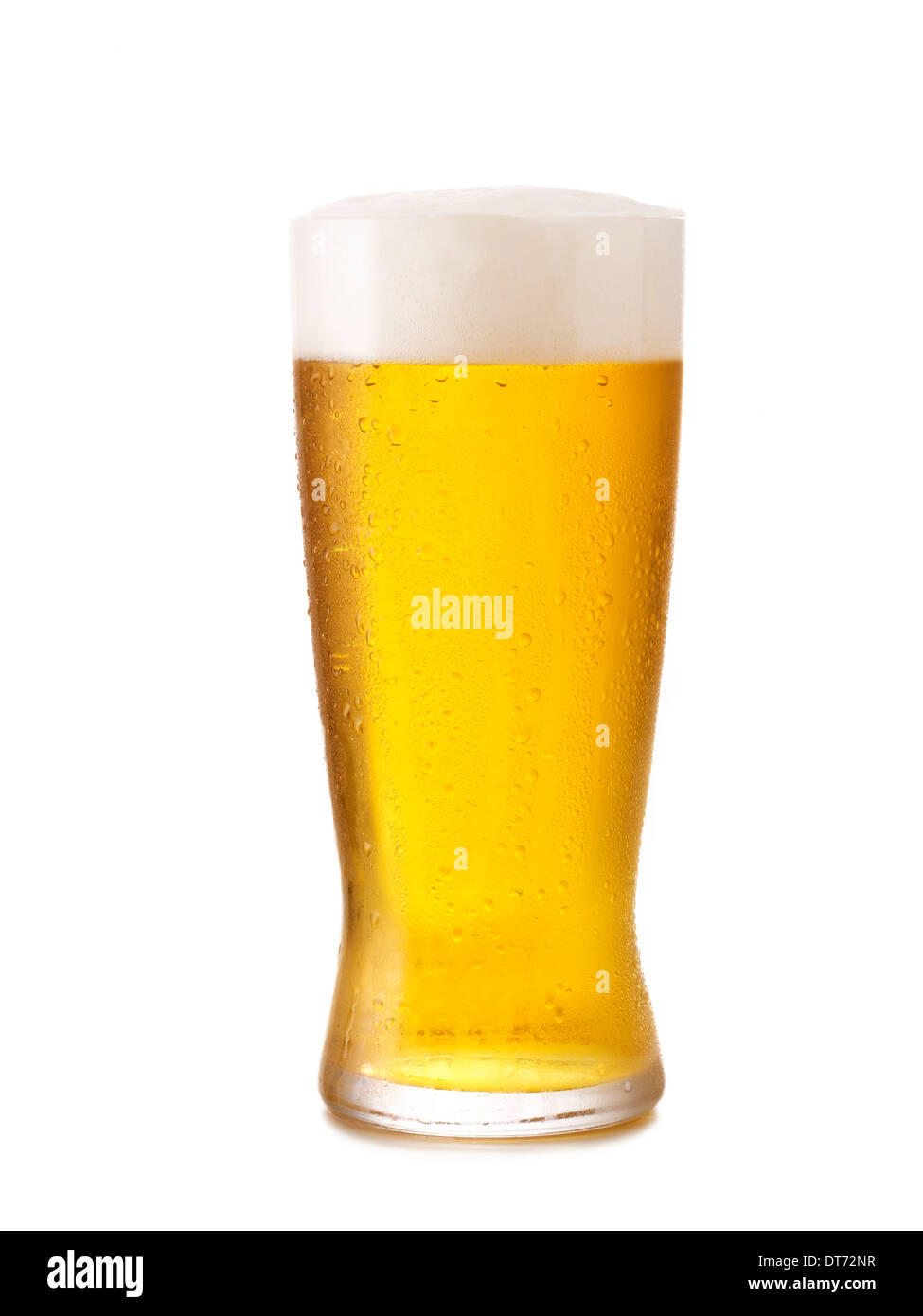 An Icy cold glass of light beer with condensation on the glass. - Stock Image
