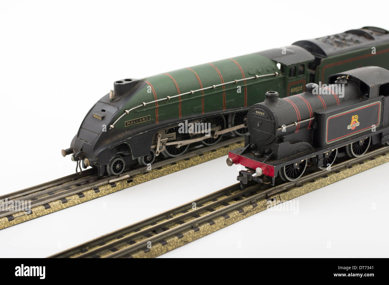 Hornby Dublo Green Mallard Model Train with EDL17 Tank Locomotive Train Classic British Children's Toy - Stock Image