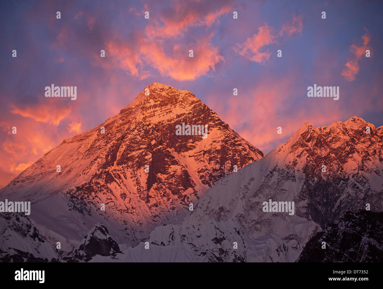 Mount Everest (8848 m) at sunset. Canon 5D Mk II. - Stock Image