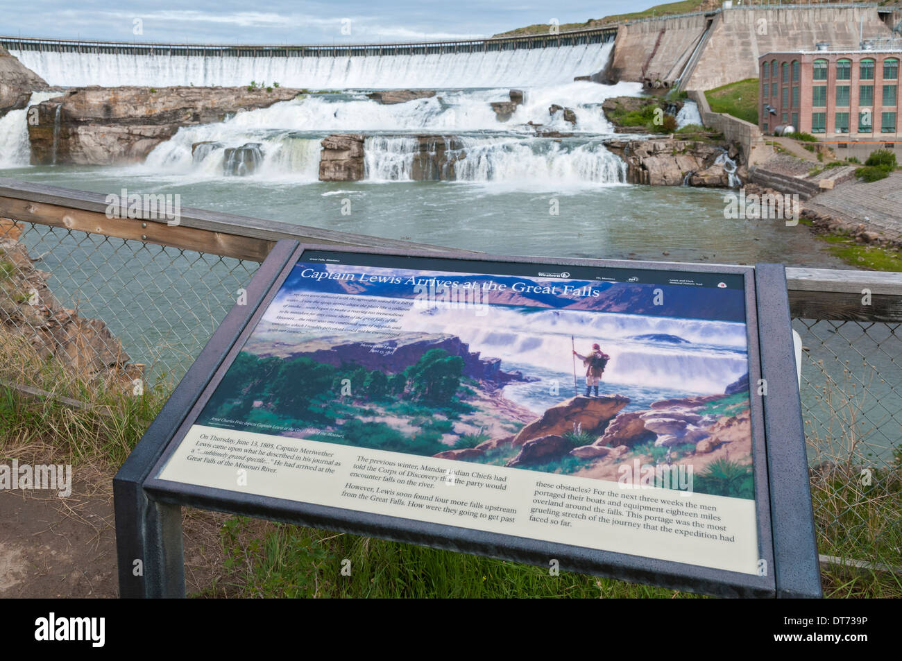 Montana, Great Falls, Ryan Dam, hydroelectric dam on the Missouri River, completed 1915, Lewis & Ckark interpretive sign - Stock Image