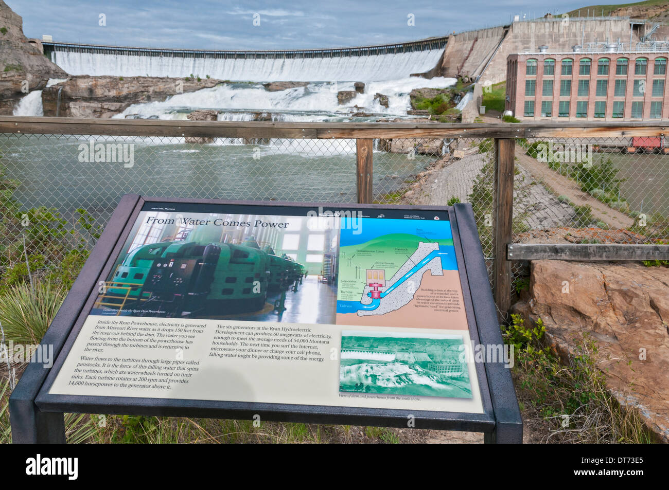 Montana, Great Falls, Ryan Dam, hydroelectric dam on the Missouri River, completed 1915, interpretive sign - Stock Image