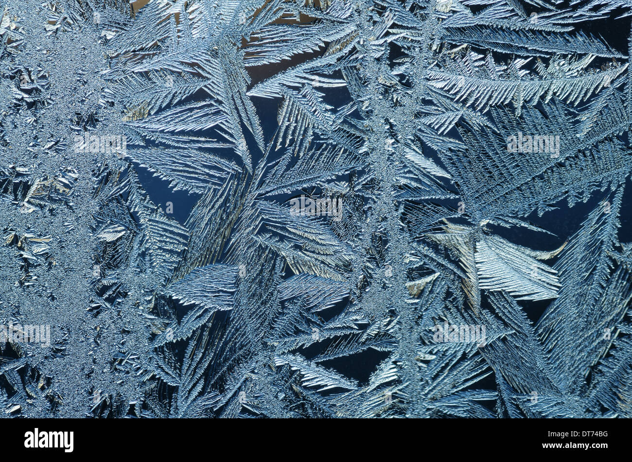 macro image of frost crystals on a window pane Stock Photo