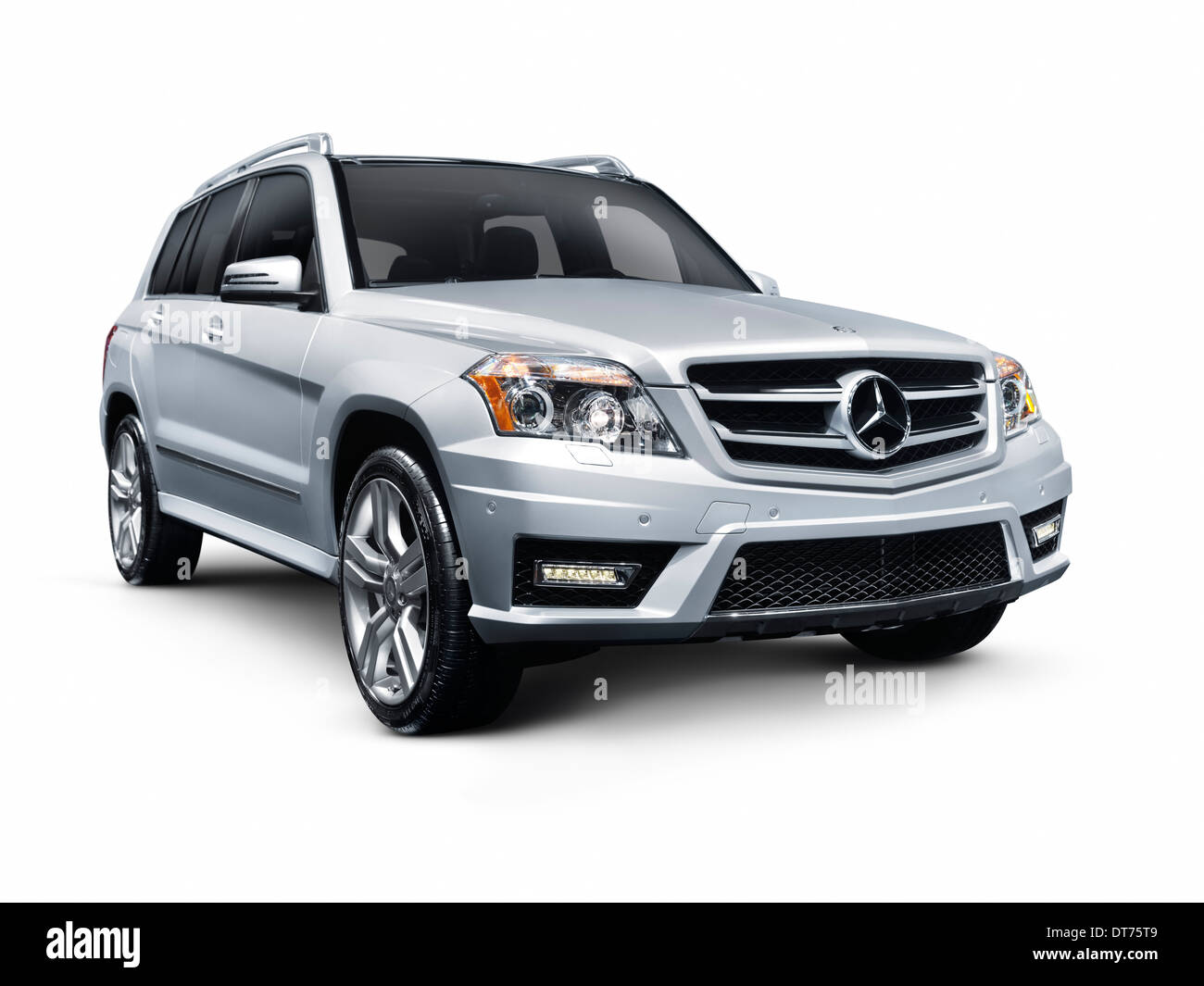 Silver 2012 Mercedes-Benz GLK350 4MATIC SUV. Isolated car on white background with clipping path. - Stock Image