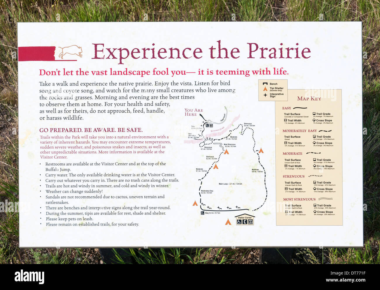Montana, Ulm, First Peoples Buffalo Jump State Park, trail map information sign - Stock Image