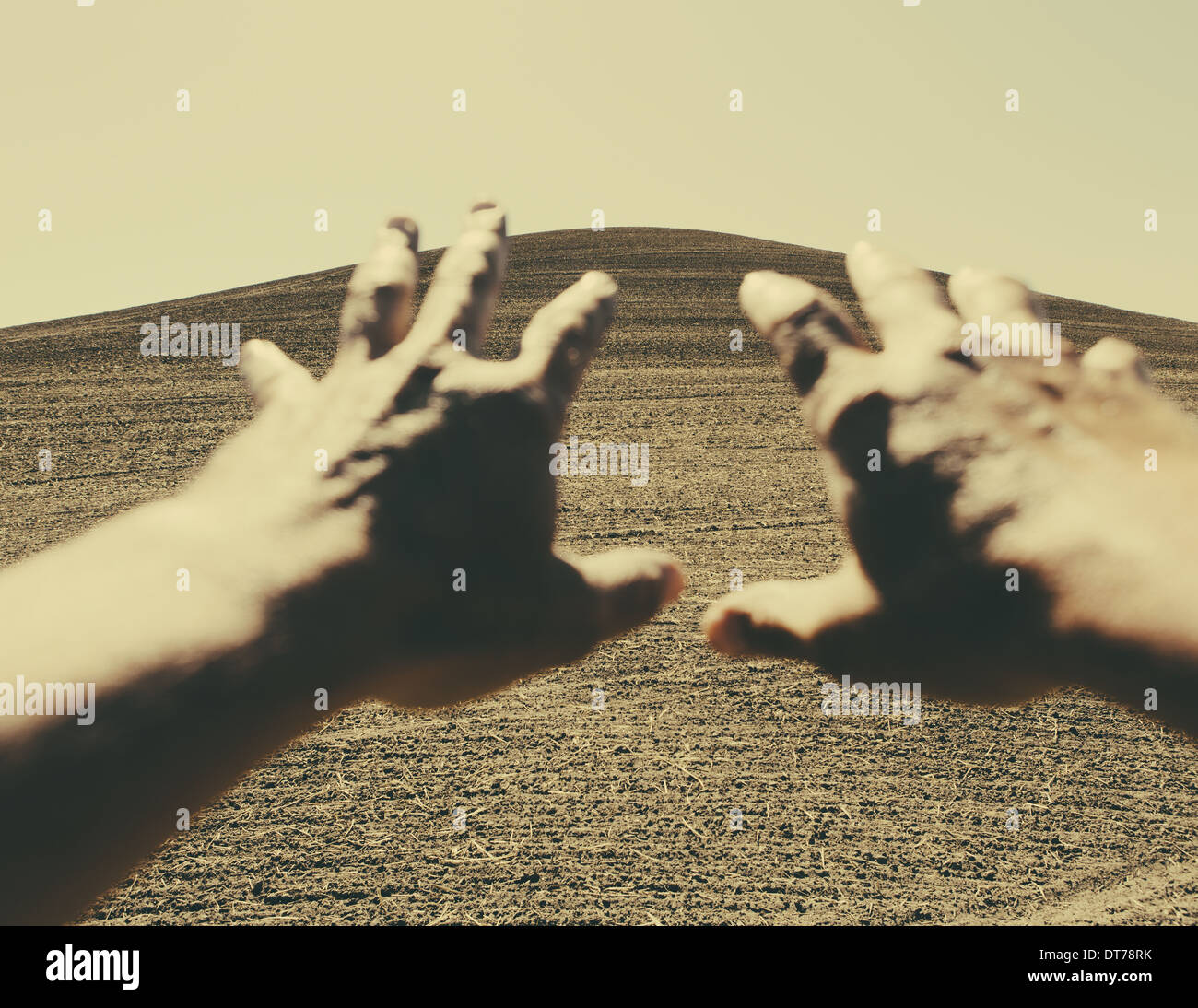 Hands extending reaching out towards ploughed farmland, near Pullman, Washington, USA Stock Photo