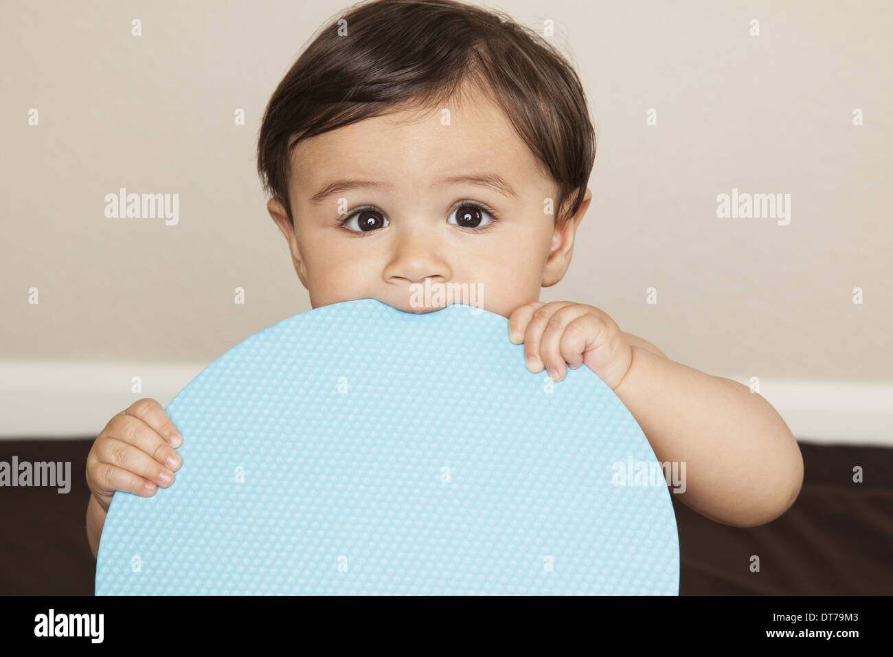 A young 8 month old baby boy wearing cloth diapers, holding a large blue disc and chewing the edge. - Stock Image