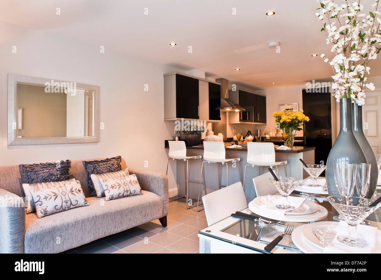 Show home kitchen / diner with sofa Stock Photo   Alamy