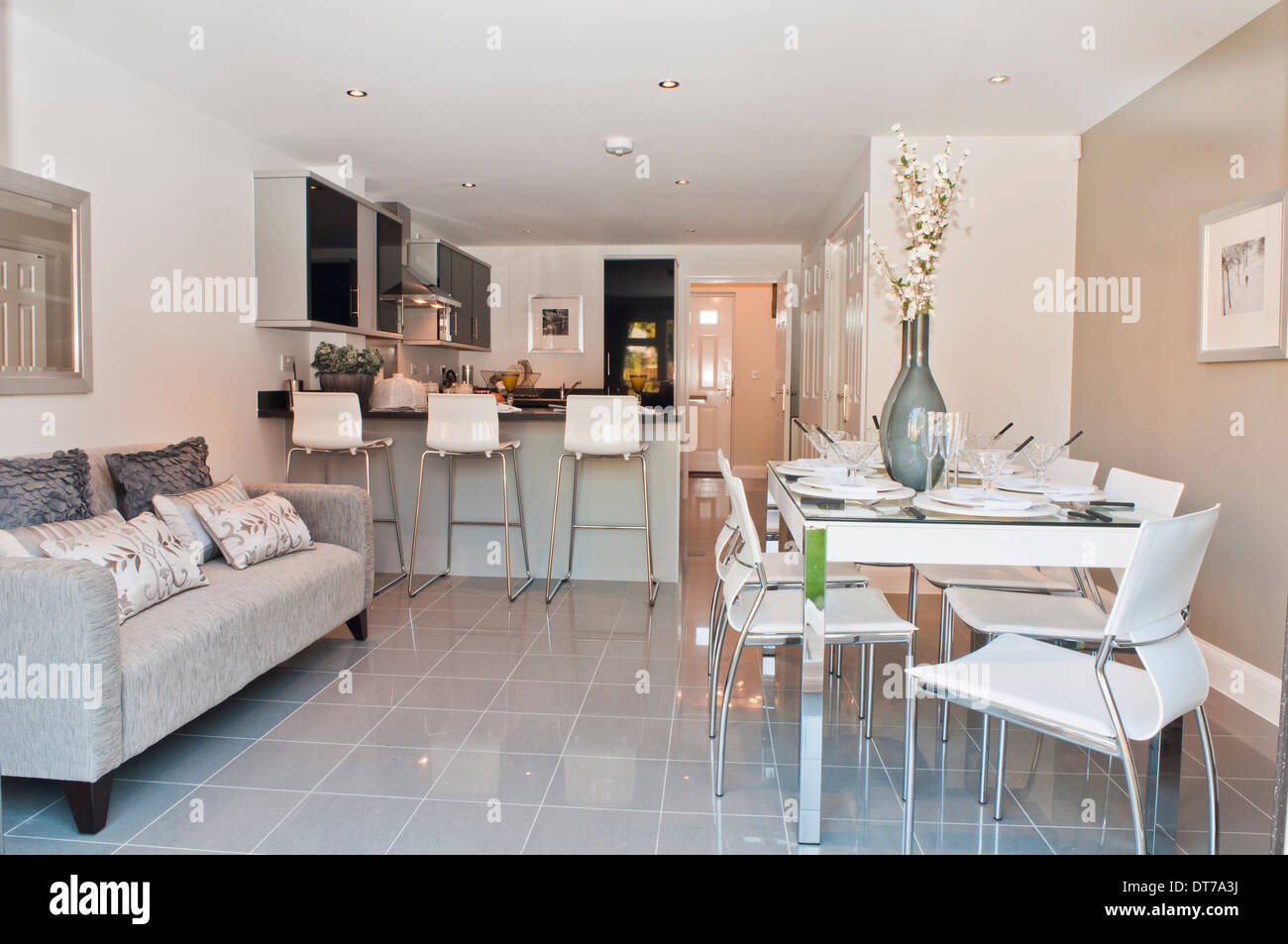 Show Home Kitchen Diner With Sofa Stock Photo 66544454