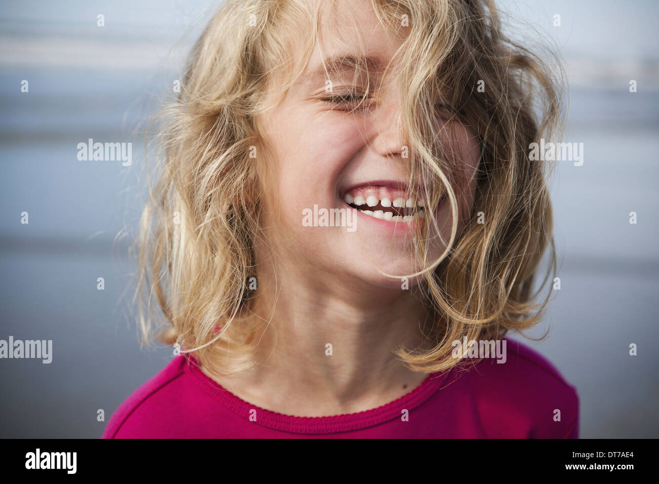A laughing six year old gir A portrait Pacific County WA USA - Stock Image