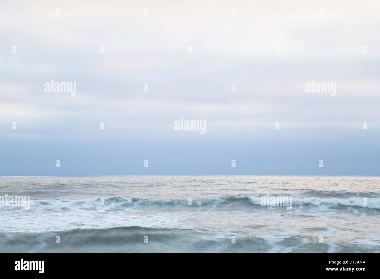 Seascape at dusk on the Pacific Ocean coastline Olympic National Park Rialto Beach Washington USA USA - Stock Image