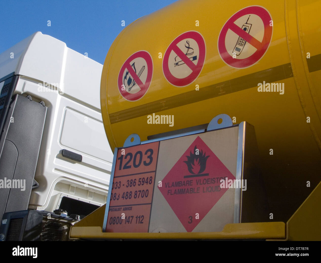 symbolic safety signs flammable liquid, pv2 fire and open flames, pv1 smoking prohibited, no cell phones. - Stock Image