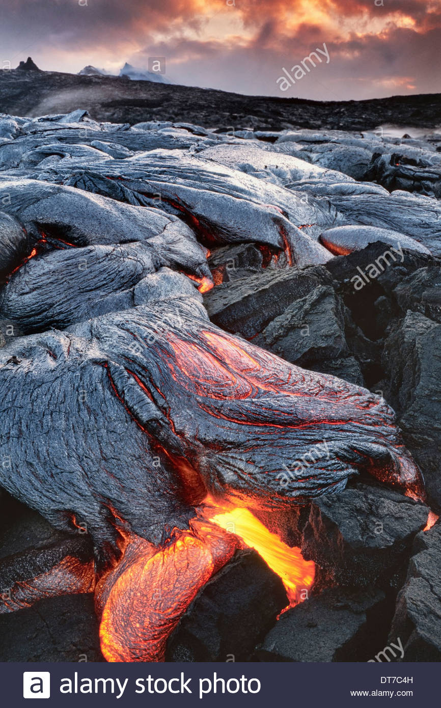 Lava flows and molten lava bubbling up in Hawaii Volcanoes National Park Hawaii Hawaii Volcanoes National Park Hawaii - Stock Image
