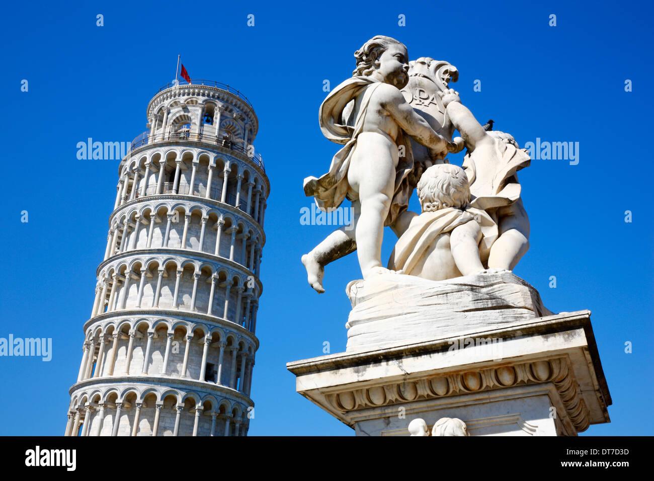 Pisa Leaning tower, Tuscany Italy - Stock Image
