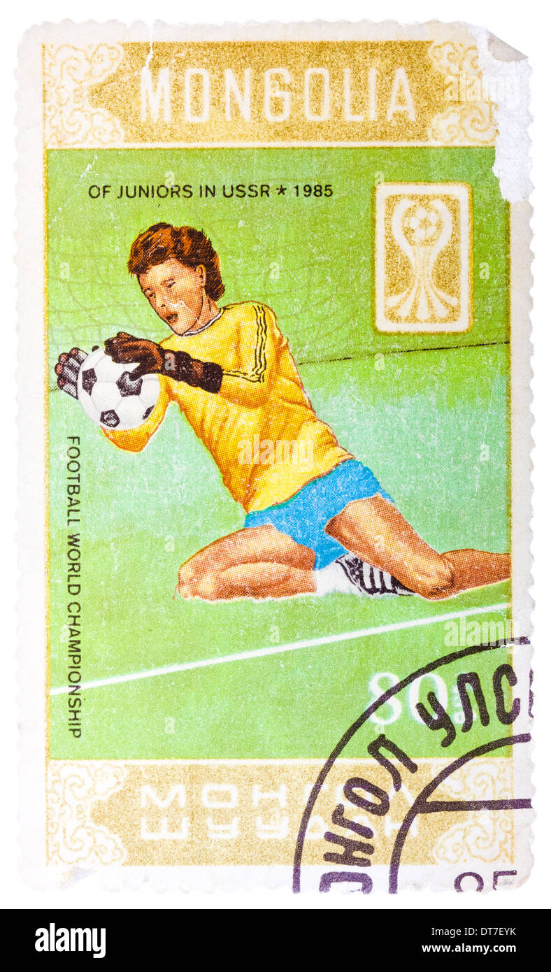 MONGOLIA - CIRCA 1985: Stamp printed in Mongolia shows Football world championship of juniors in USSR 1985, circa 1985 - Stock Image