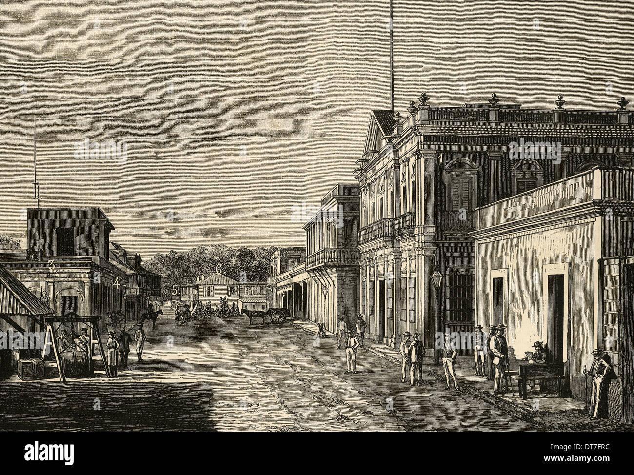 Puerto Rico. Mayaquez city. Engraving by Traver 'La Ilustracion Espanola y Americana', 1889. - Stock Image