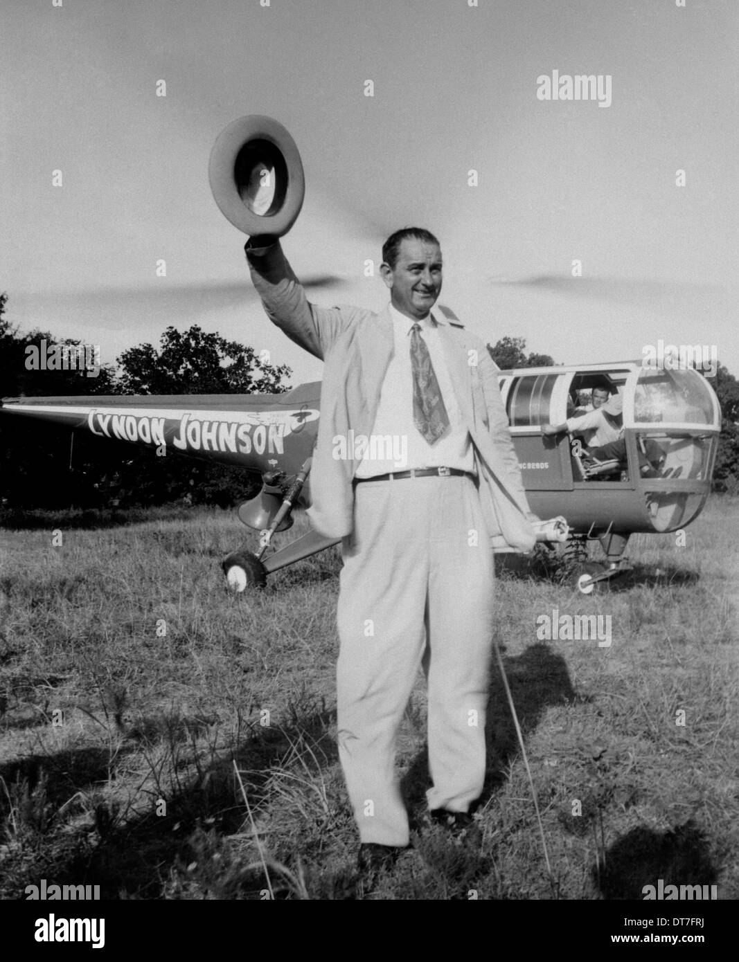 Campaign hat stock photos campaign hat stock images alamy lyndon b johnson waves his hat after arriving by helicopter during campaigning for the texas publicscrutiny Image collections