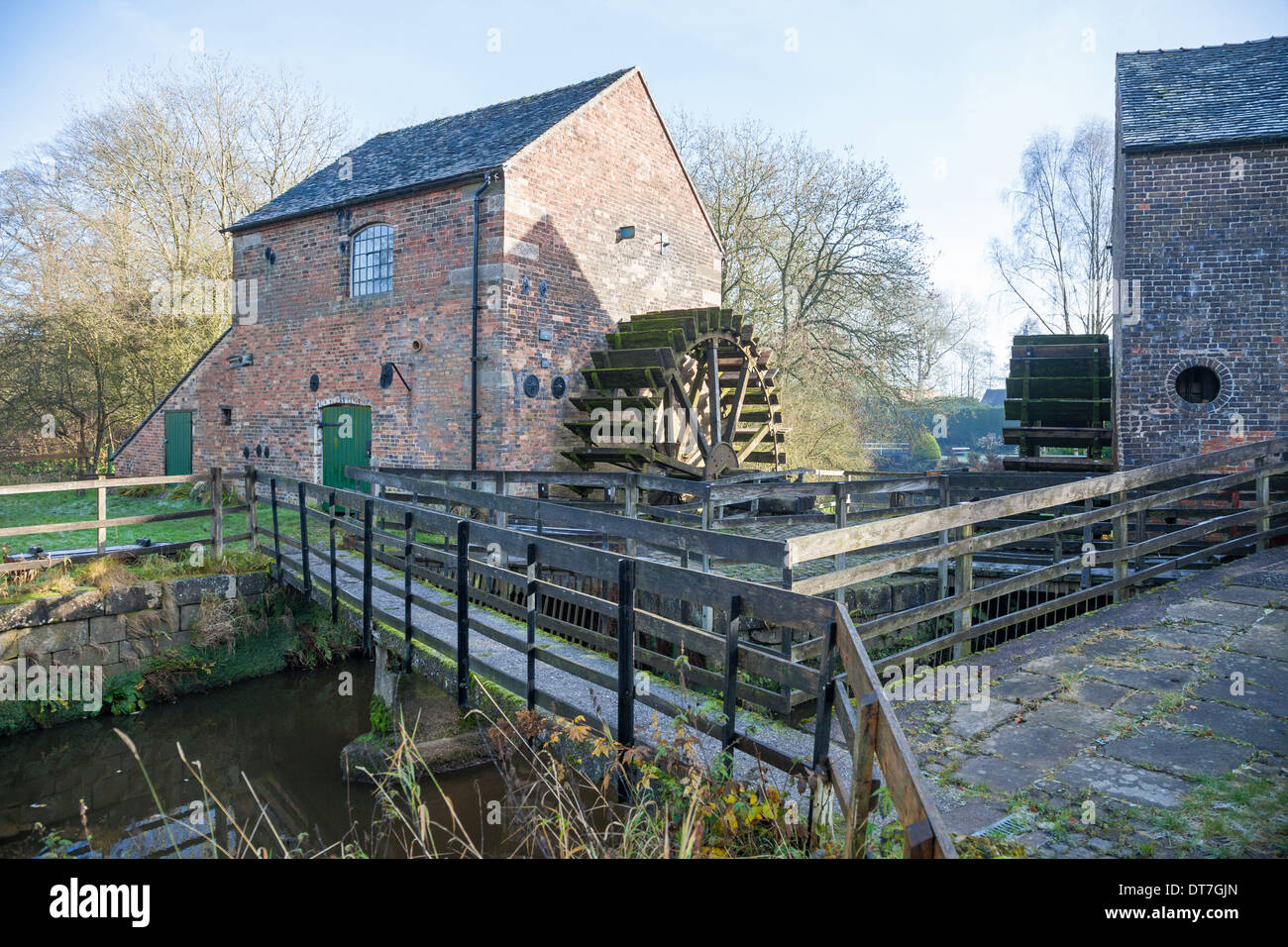 The 2 water wheels of the Cheddleton Flint Mill Cheddleton Staffordshire England UK - Stock Image
