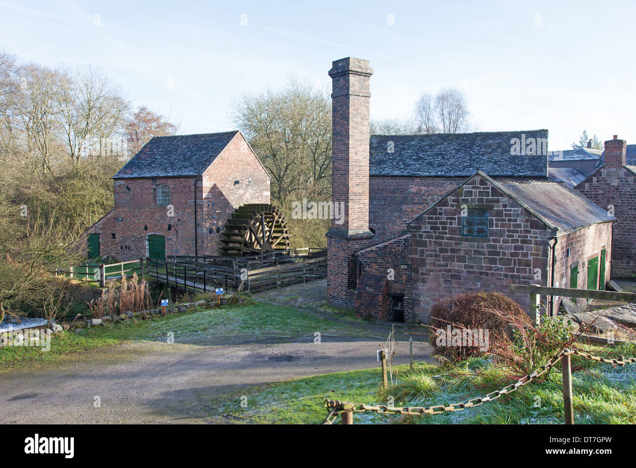 The water wheel of Cheddleton Flint Mill Cheddleton Staffordshire England UK - Stock Image