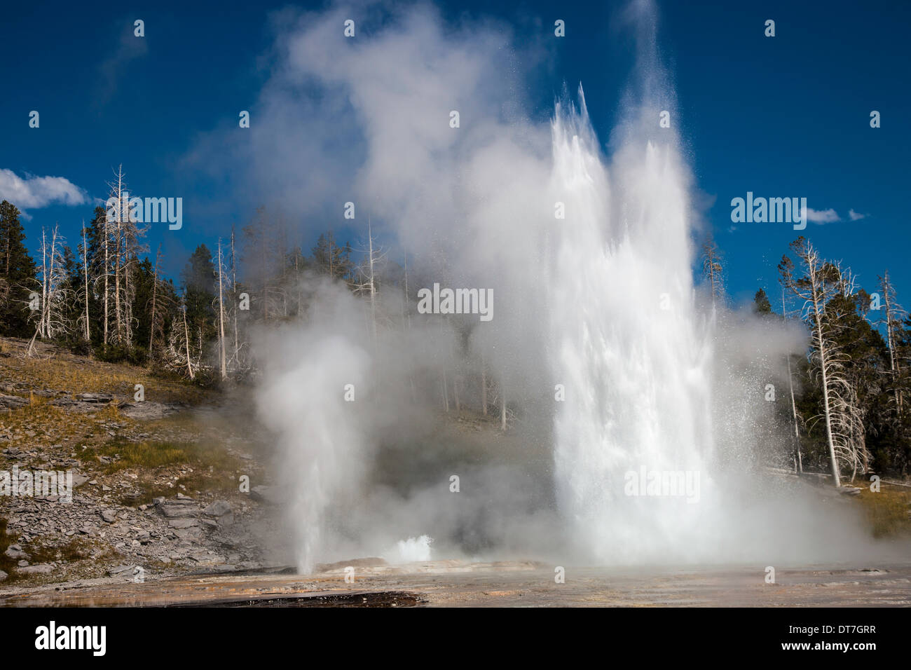 Grand, Turban, and Vent geysers - Stock Image