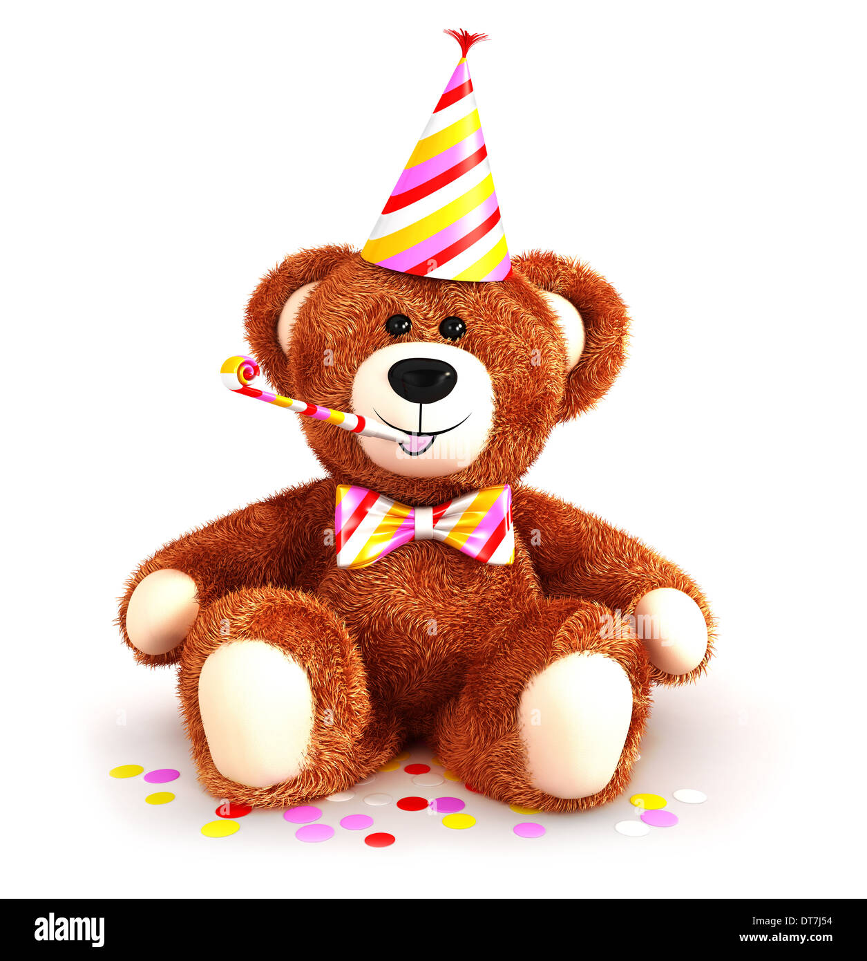 3d teddy bear party, isolated white background, 3d image Stock Photo