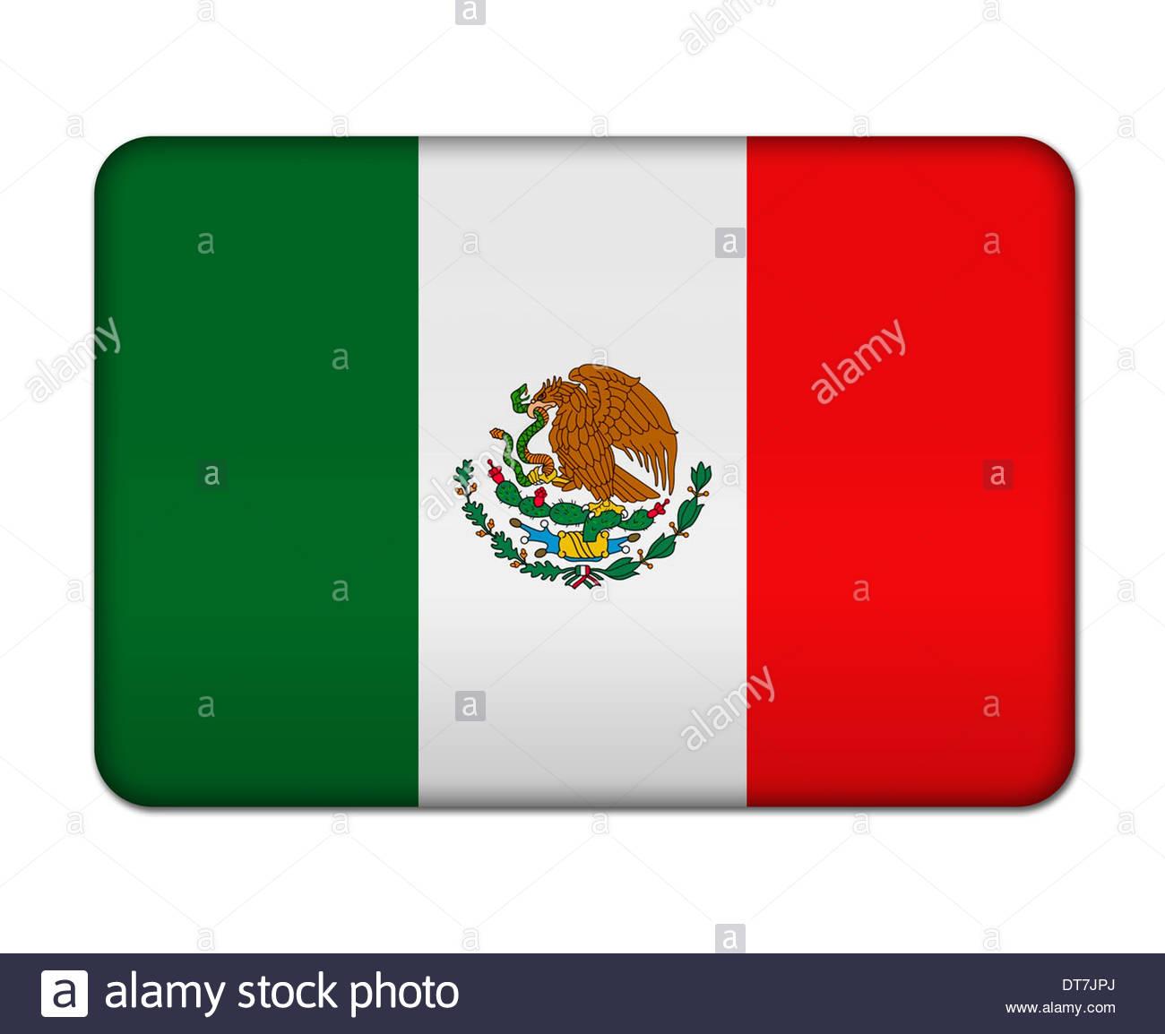 Mexico flag icon banner logo button sign - Stock Image