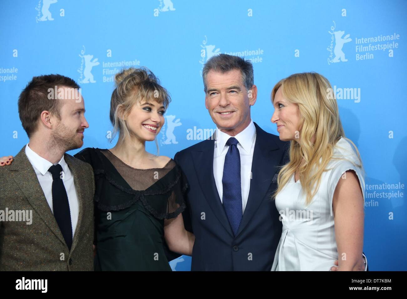 Actors Aaron Paul (L-R), Imogen Poots, Pierce Brosnan and Toni Stock ...