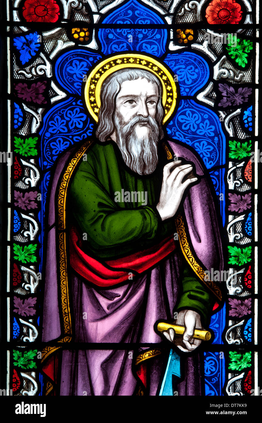 Saint Simon stained glass, St. Peter and St. Paul Church, Newport Pagnell, Buckinghamshire, England, UK - Stock Image