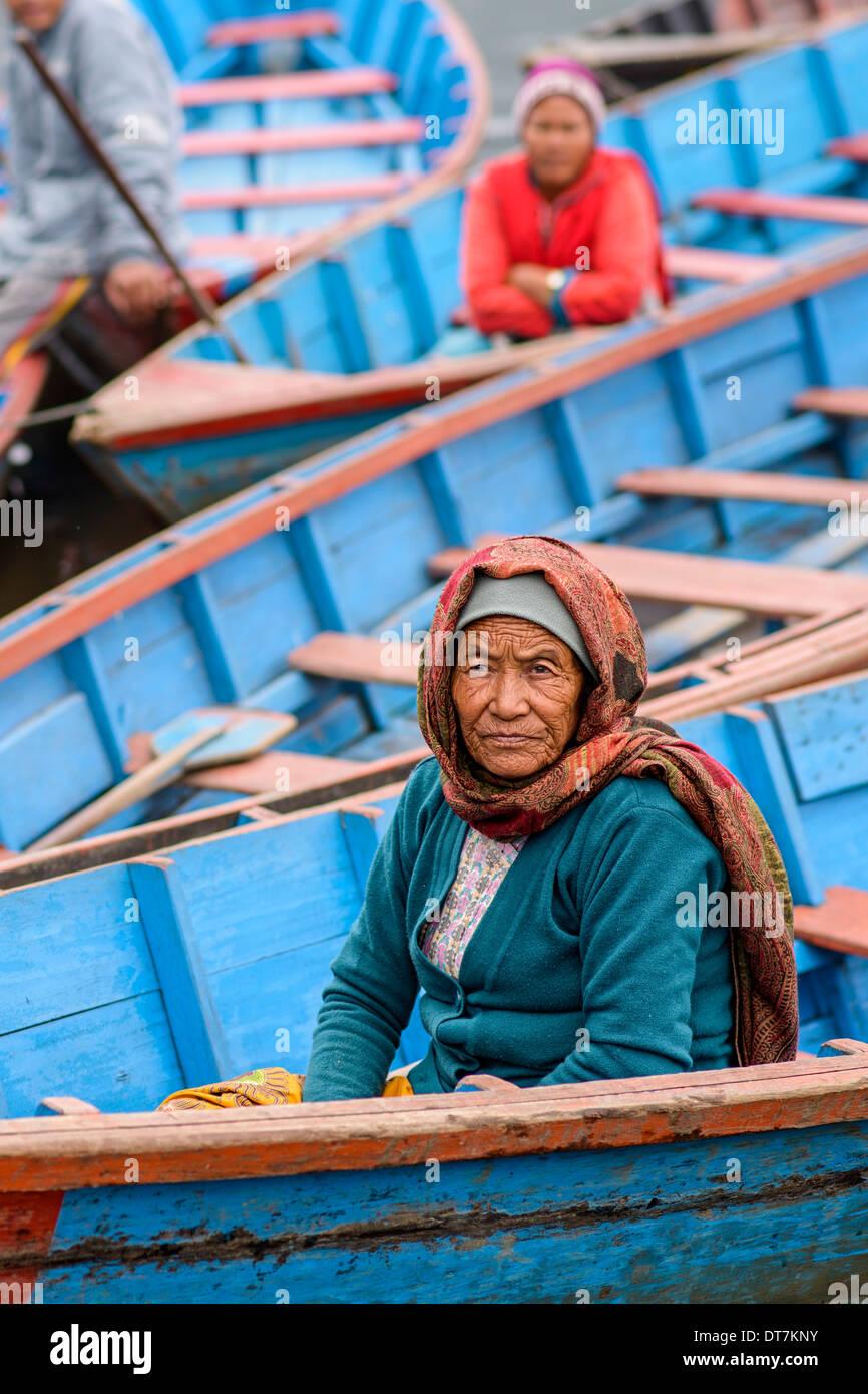 Ferrymen on Phewa Lake in Pokhara, Nepal - Stock Image