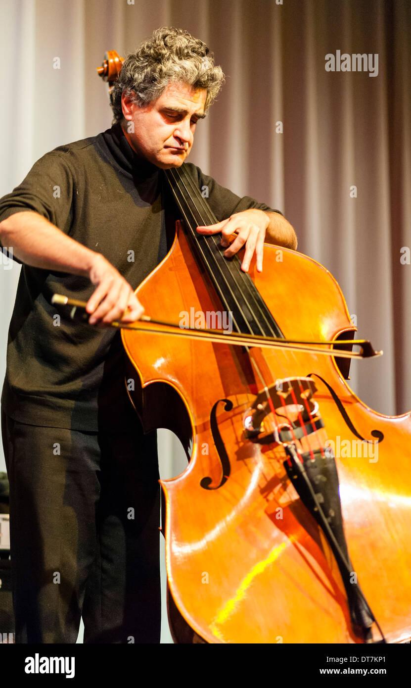 Renaud Garcia-Fons plays upright bass. - Stock Image
