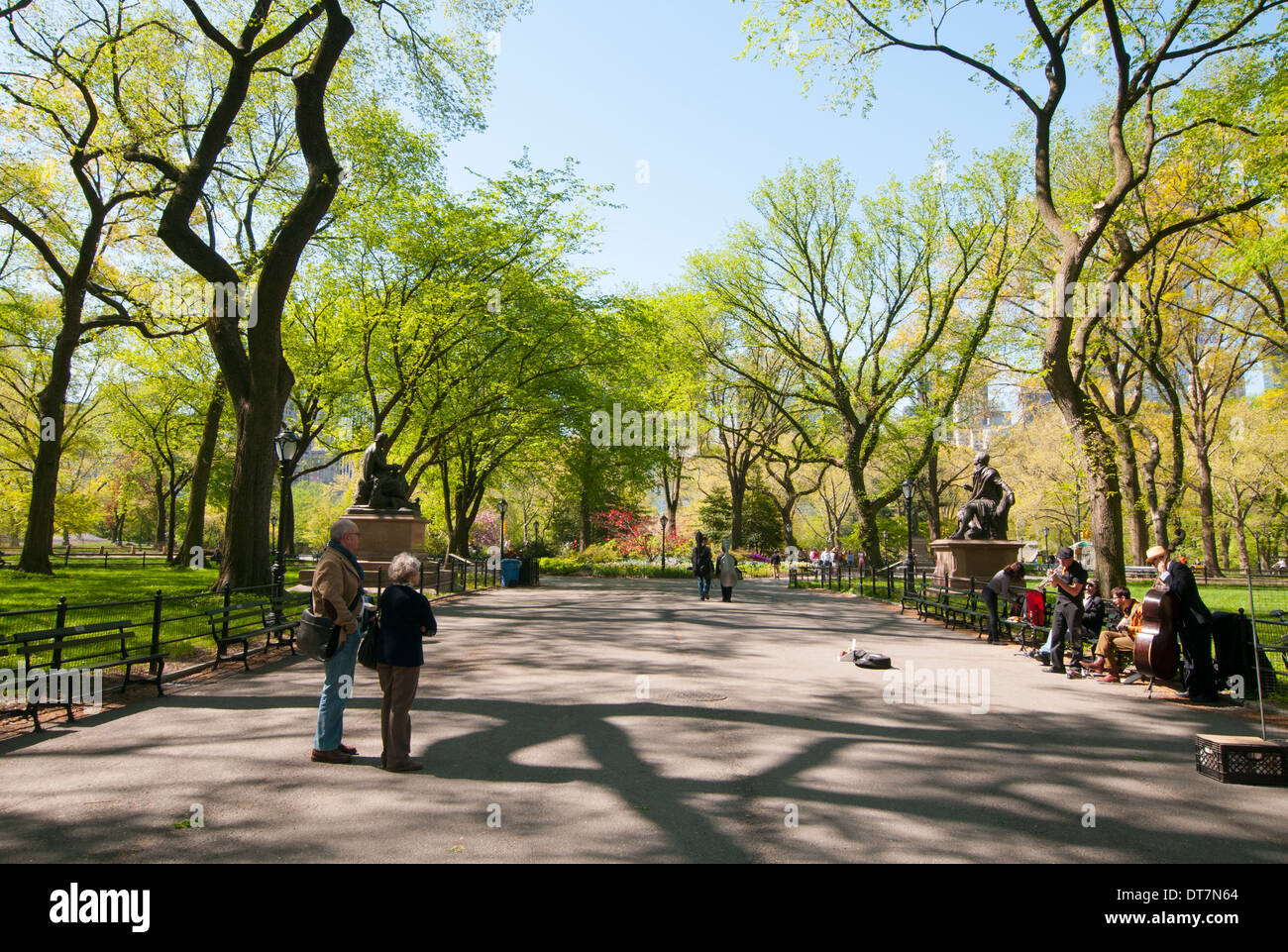 A pretty spring day on the Mall in Central Park, New York City USA Stock Photo