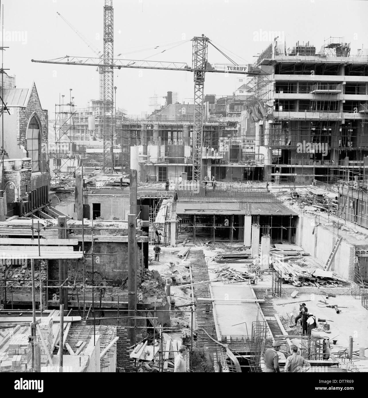 1950s, construction site, london. - Stock Image