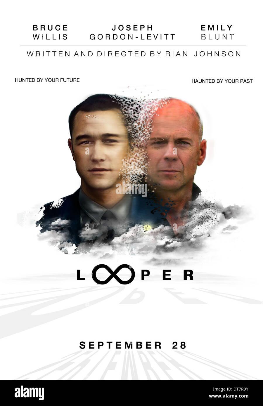 Joseph Gordon Levitt Bruce Willis Poster Looper 2012 Stock Photo Alamy