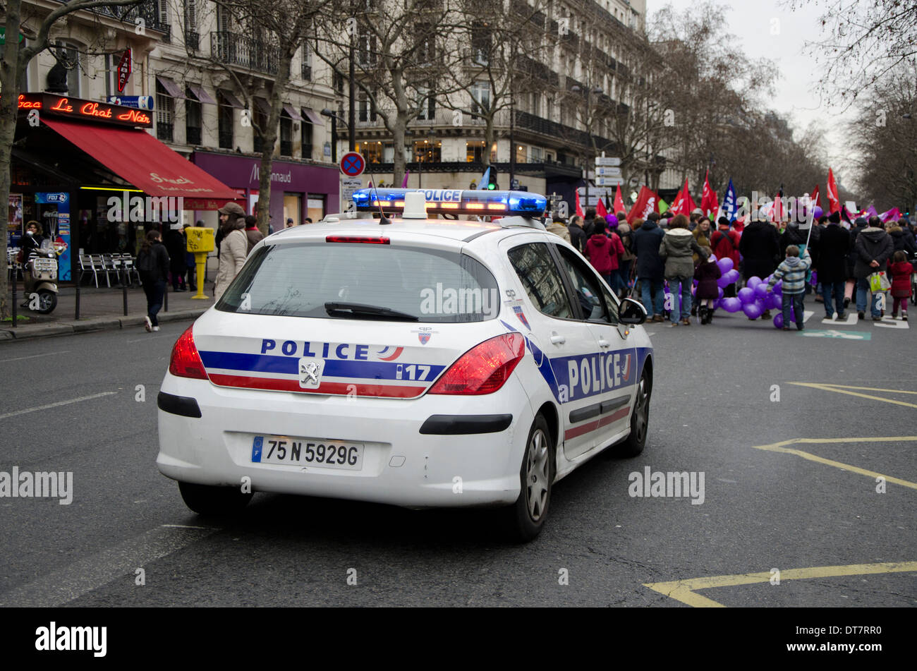 French Police Car At Demonstration In Paris Against The Closing Of