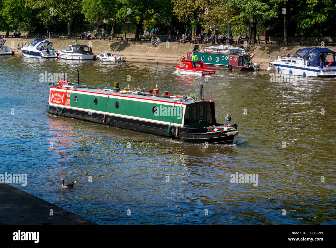 Longboat on river Ouse in centre of York - Stock Image