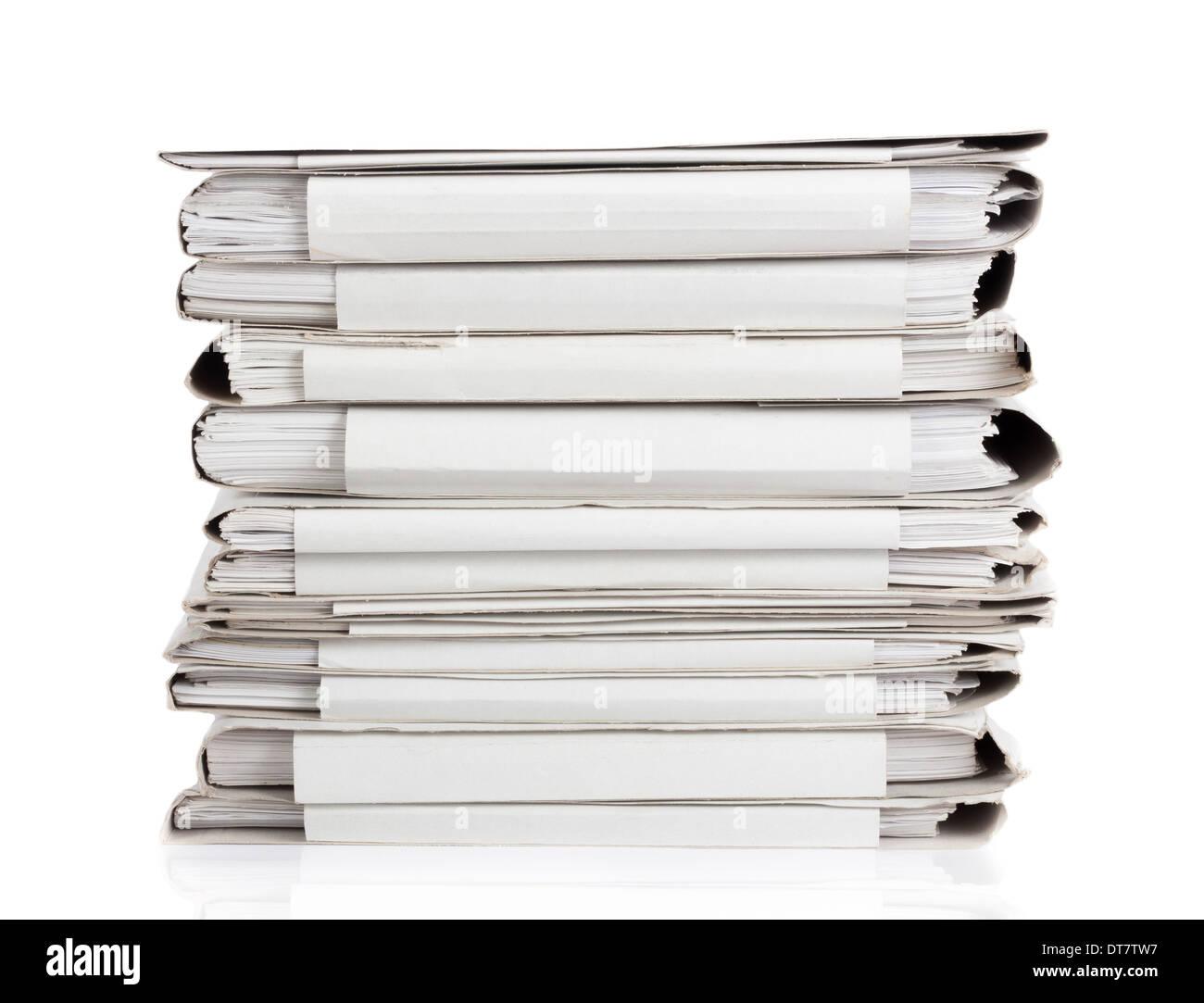File stack. File folder isolated on white white background. - Stock Image