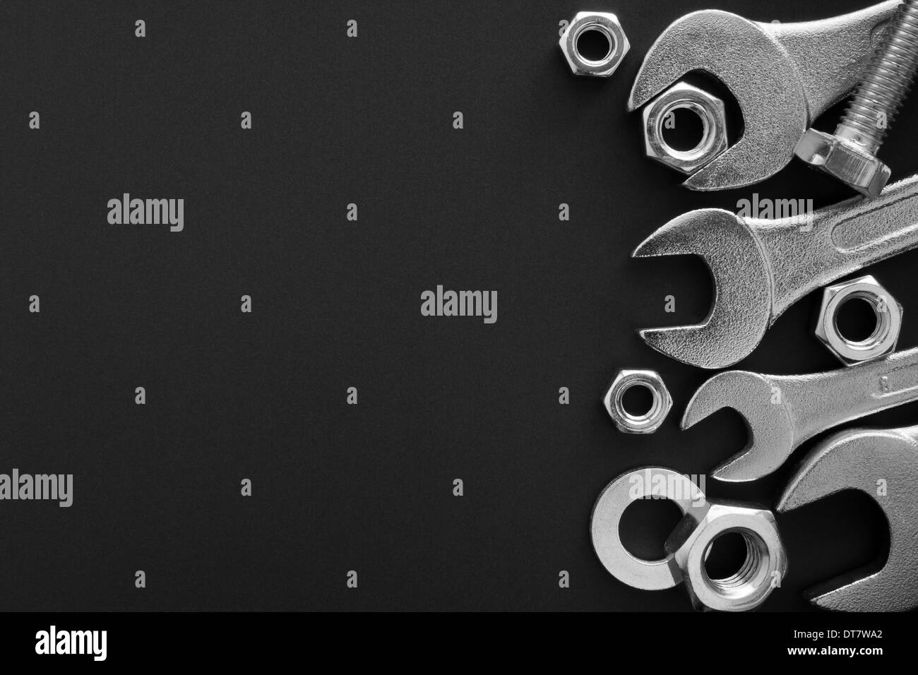 Wrench tools on dark background. Empty space for Your text - Stock Image