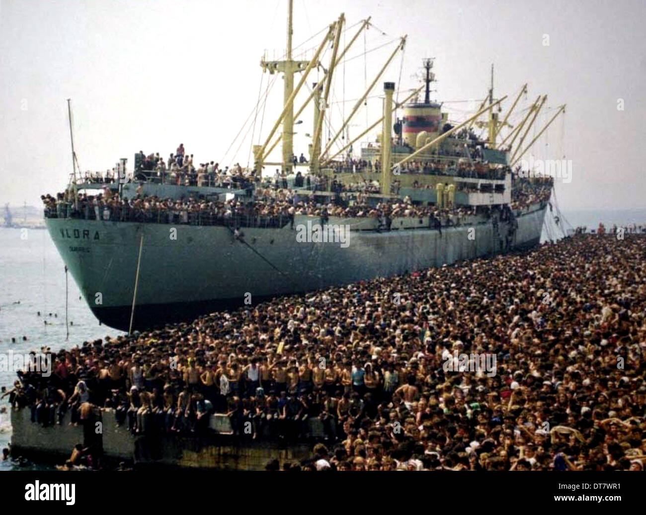 ALBANIAN MIGRANTS HIJACK SHIP LA NAVE DOLCE (2012) Stock Photo