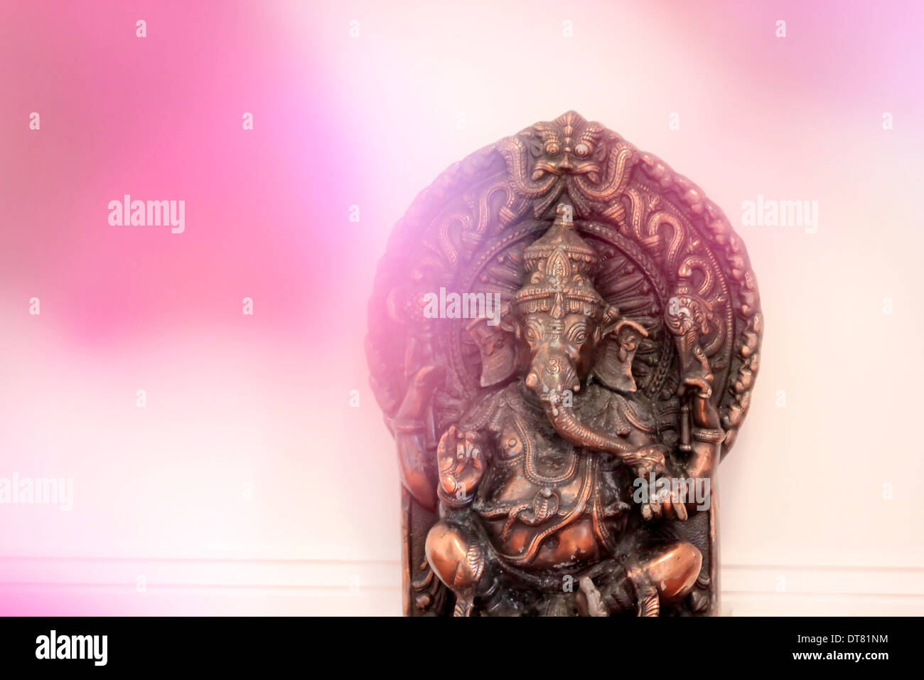Statue of the Hindu deity Ganesha as a decoration in a yoga room - Stock Image